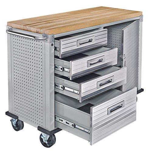 Seville Classics UHD20244 Werkbank mit 4 Schubladen, Metall pulverbeschichtet, Buche Holzarbeitsplatte, 121,9 x 50,8 x 95,2 cm, grau - 4