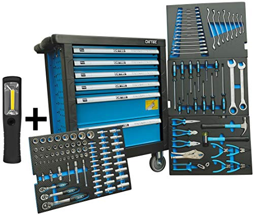 DeTec. Werkstattwagen blue Edition inkl. Werkzeug + GRATIS COB Akku