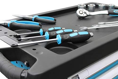 DeTec. Werkstattwagen blue Edition inkl. Werkzeug + GRATIS COB Akku - 3