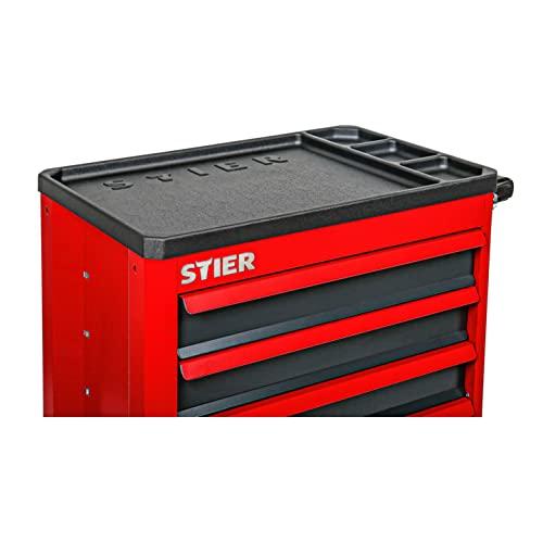 STIER Werkstattwagen Basic+, mit Kunststoffabdeckung, unbestückt – leer, Werkzeugwagen – Montagewagen, Max. Belastung - 4