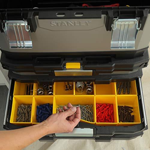 Stanley FatMax Rollende Werkstatt aus Metall-Kunststoff 1-95-622 – Werkzeugwagen leer – Vielseitige Werkzeugbox für Kleinteile und große Werkzeuge - 14