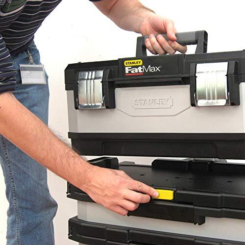 Stanley FatMax Rollende Werkstatt aus Metall-Kunststoff 1-95-622 – Werkzeugwagen leer – Vielseitige Werkzeugbox für Kleinteile und große Werkzeuge - 10
