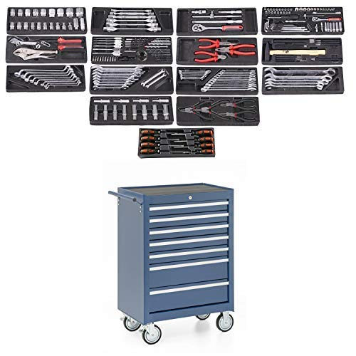 Werkstattwagen, 7 Schubladen, blau, gefüllt mit 15 Werkzeugsätzen