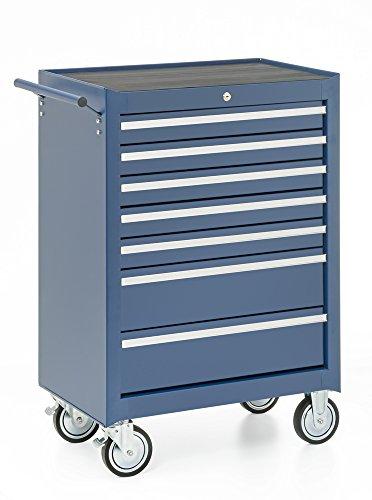 Werkstattwagen, 7 Schubladen, blau, gefüllt mit 15 Werkzeugsätzen - 3
