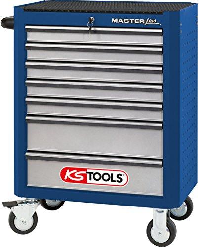 KS Tools 877.0007 MASTERline Werkstattwagen, mit 7 Schubladen blau/silber