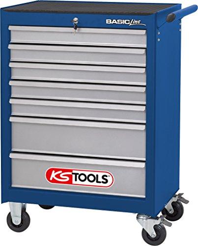 KS Tools 837.0007 BASICline Werkstattwagen, mit 7 Schubladen, blau/silber